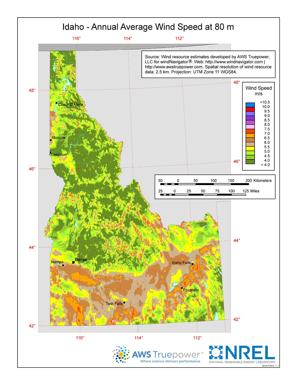 WINDExchange: Idaho 80-Meter Wind Resource Map