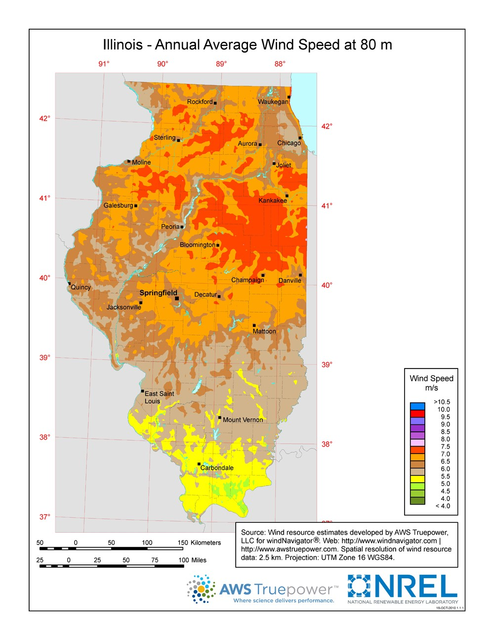 WINDExchange: Illinois 80-Meter Wind Resource Map