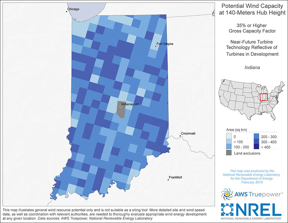 Indiana 140-Meter Potential Wind Capacity Map