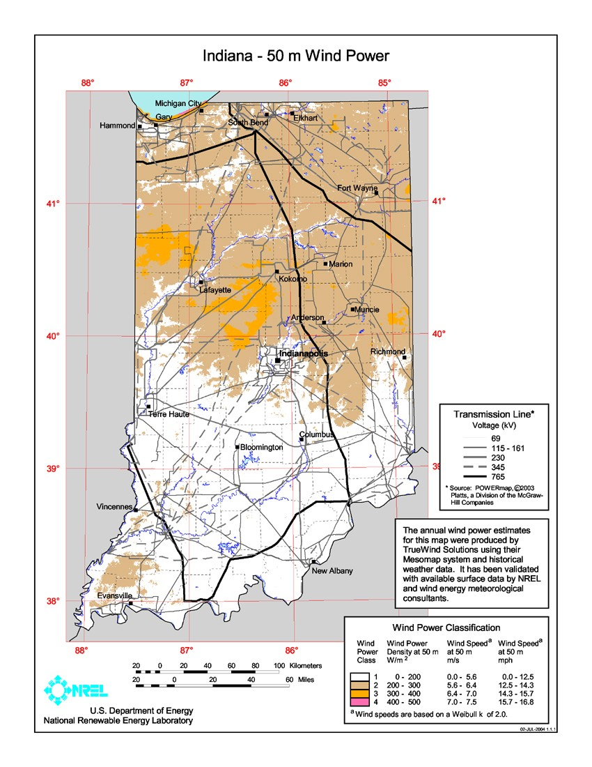 WINDExchange Indiana Meter CommunityScale Wind Resource Map - Indiana on us map