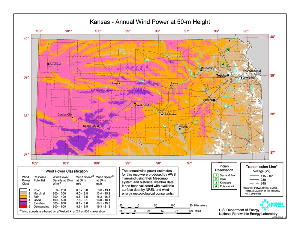 Kansas wind resource map.