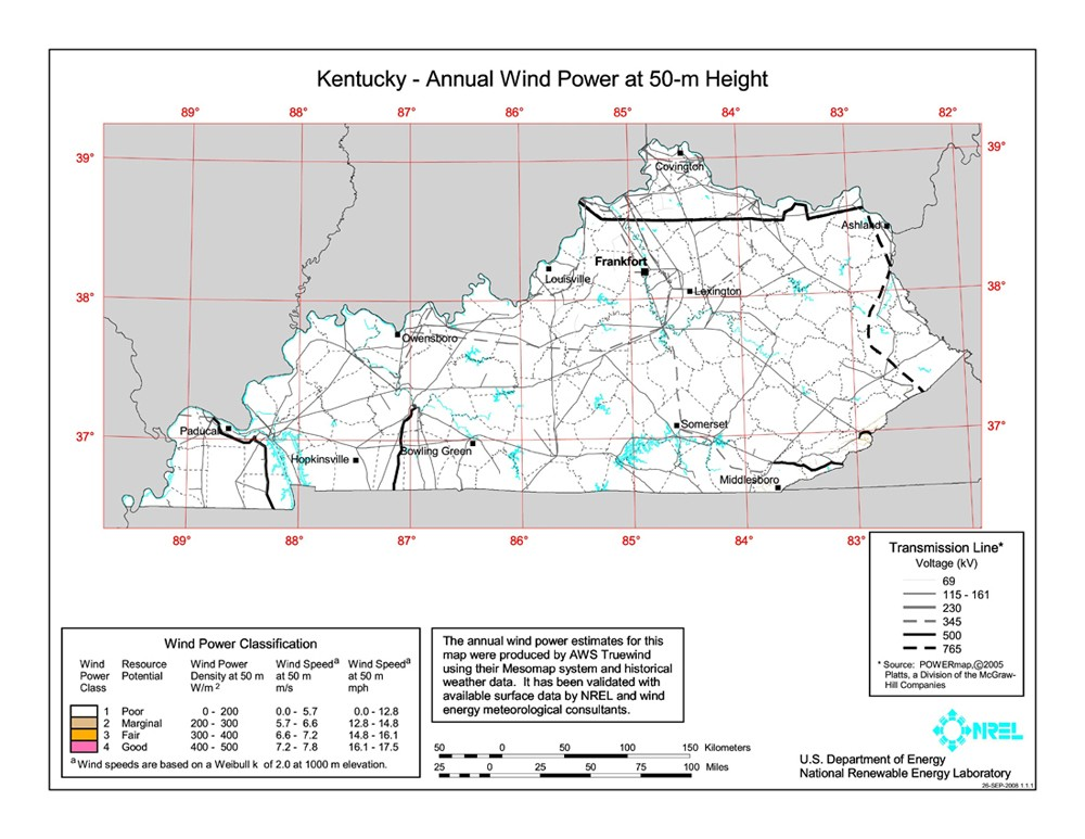 Kentucky 50-Meter Community-Scale Wind Resource Map
