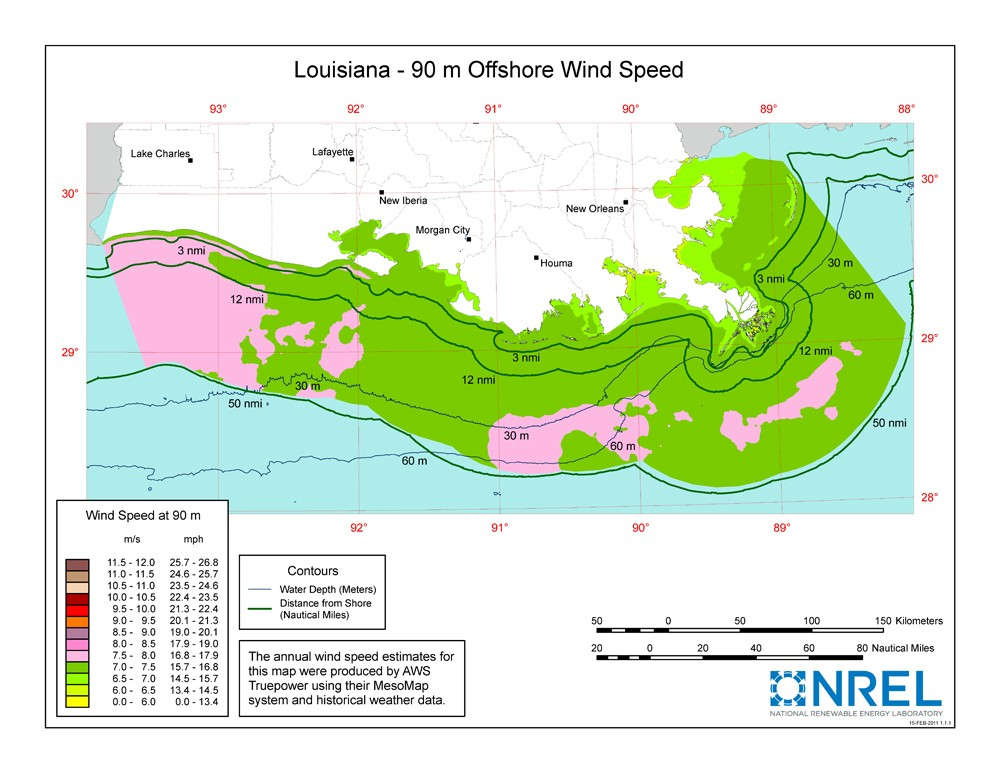 A map of Louisiana showing offshore wind speeds.