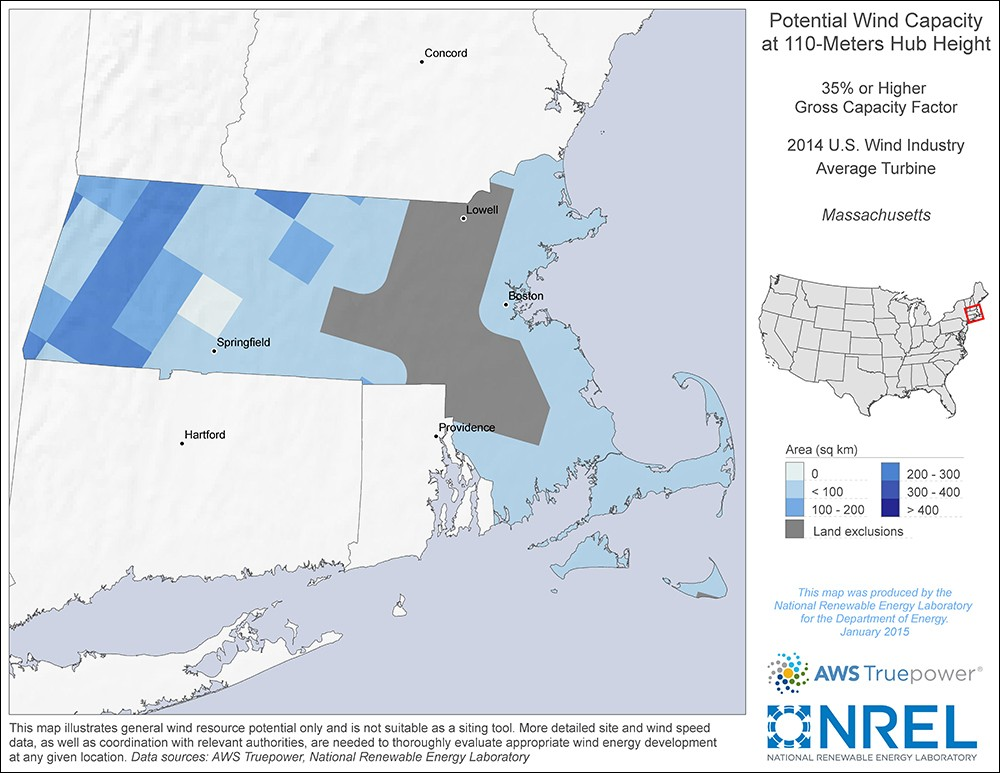 Massachusetts 110-Meter Potential Wind Capacity Map
