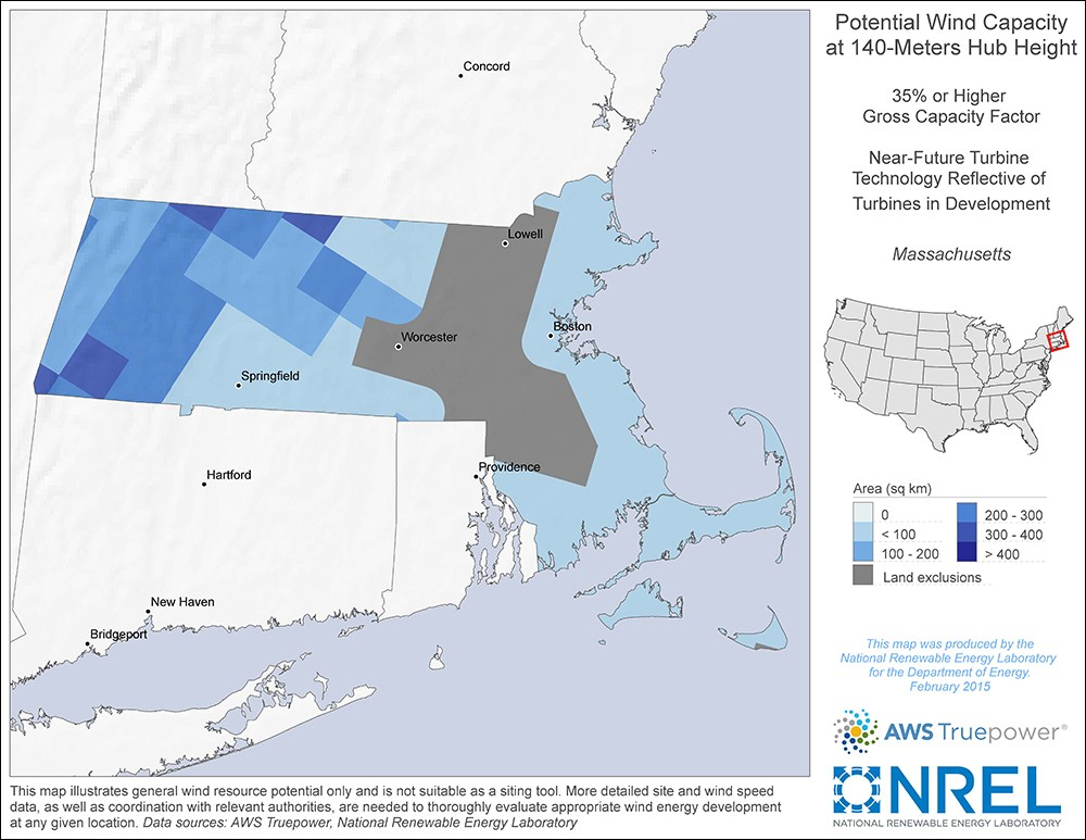 Massachusetts 140-Meter Potential Wind Capacity Map