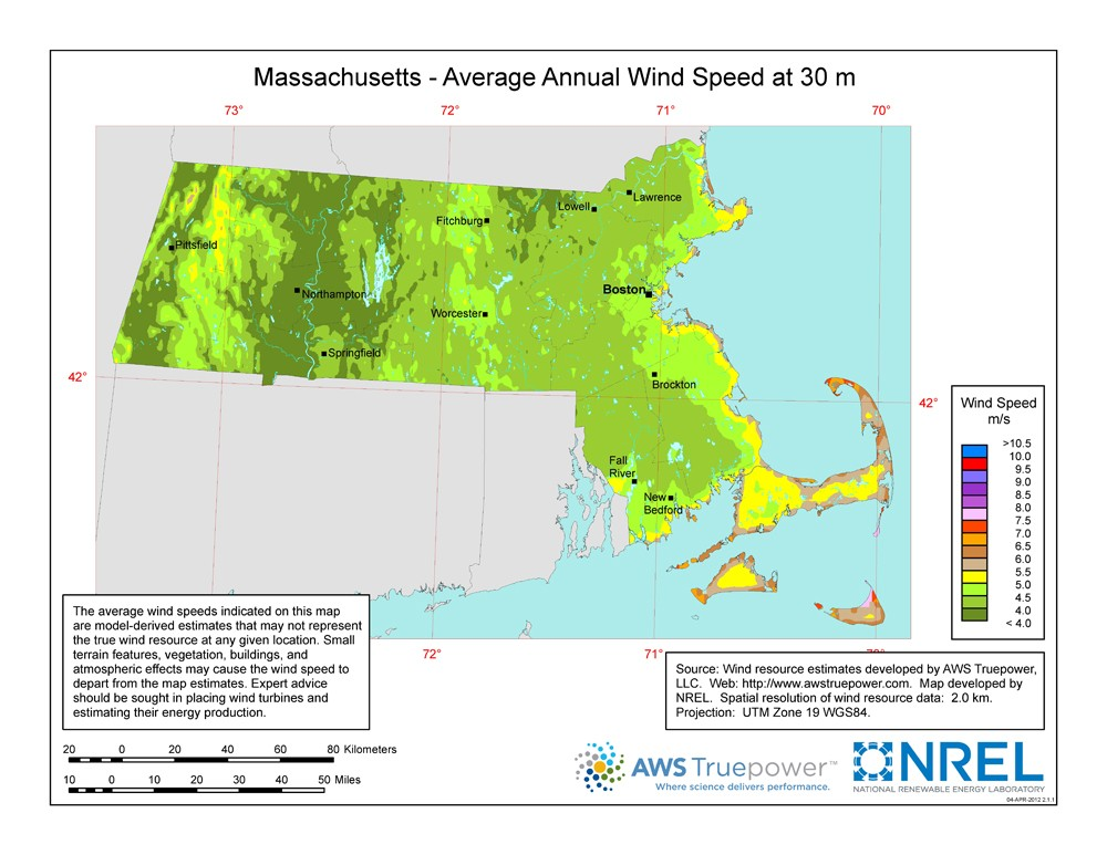 A map of Massachusetts showing wind speeds at a 30-m height.