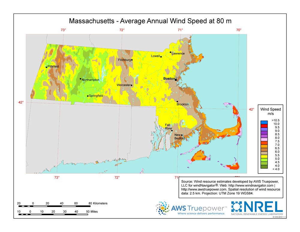 Massachusetts wind resource map.