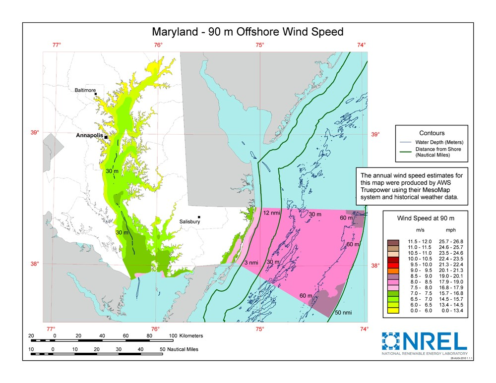 A map of Maryland showing offshore wind speeds.