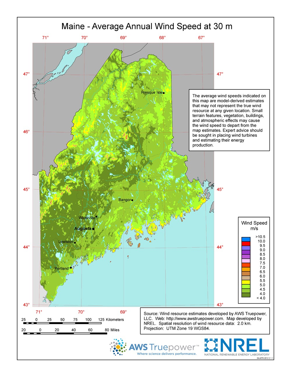 Windexchange Maine 30 Meter Residential Scale Wind Resource Map