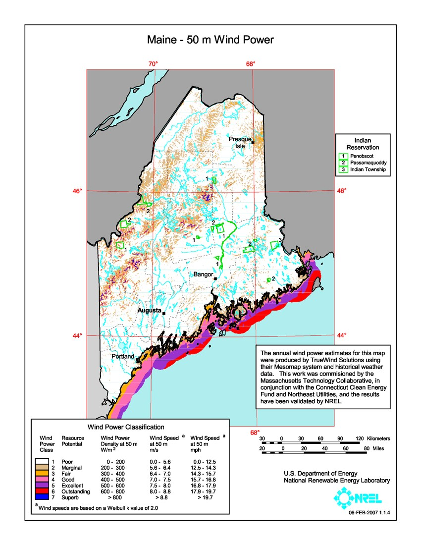 Maine Map Images.Windexchange Maine 50 Meter Community Scale Wind Resource Map