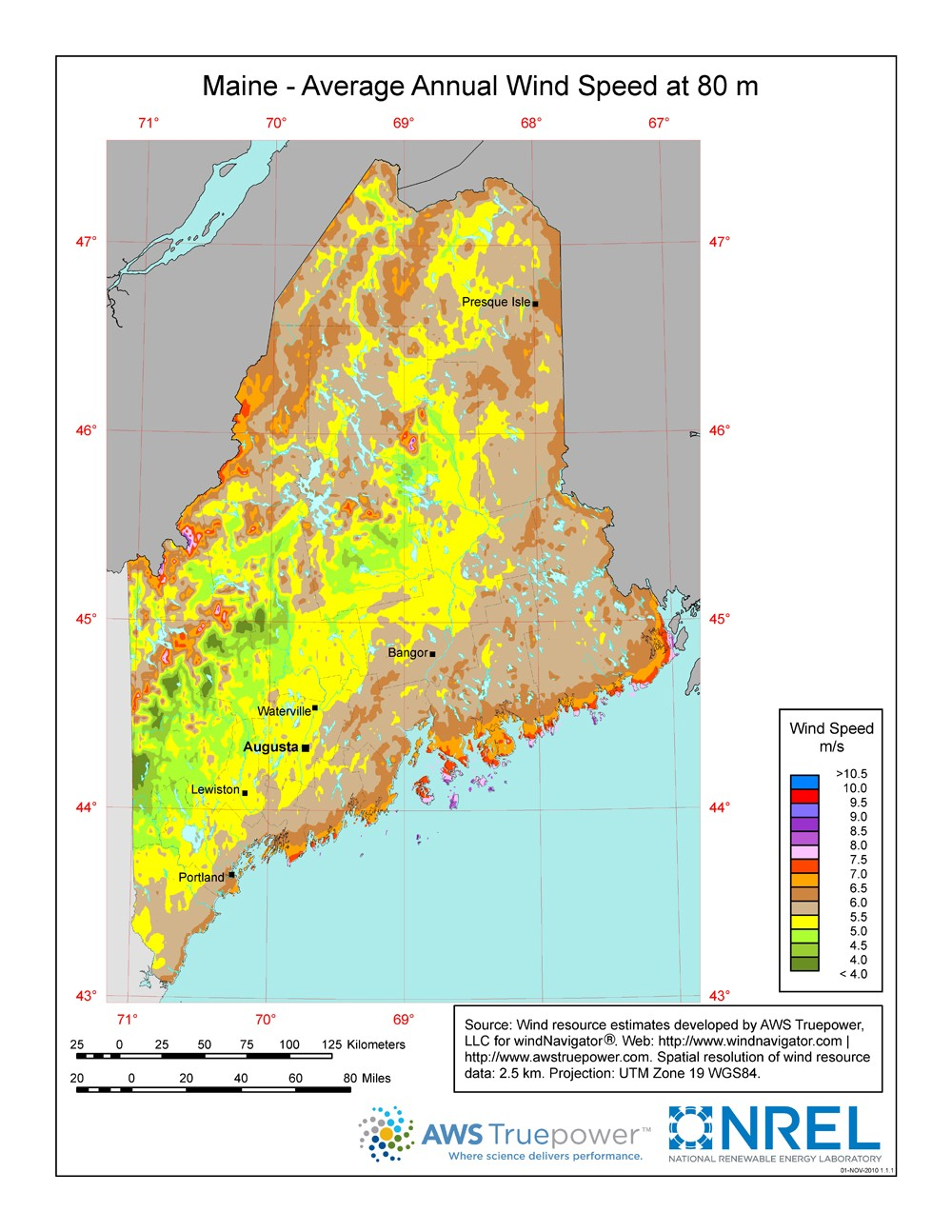 Maine wind resource map.