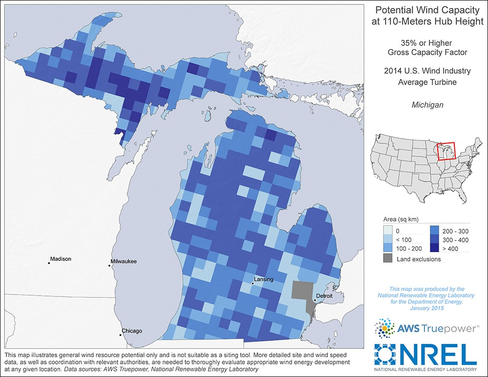 Michigan 110-Meter Potential Wind Capacity Map