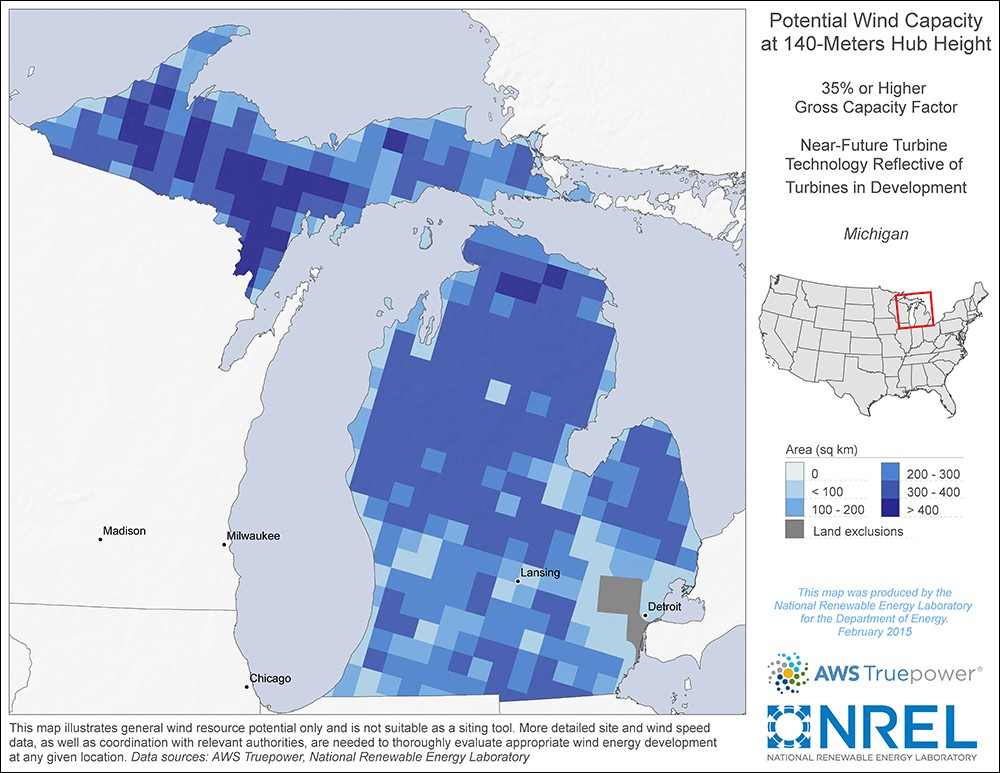 Michigan 140-Meter Potential Wind Capacity Map
