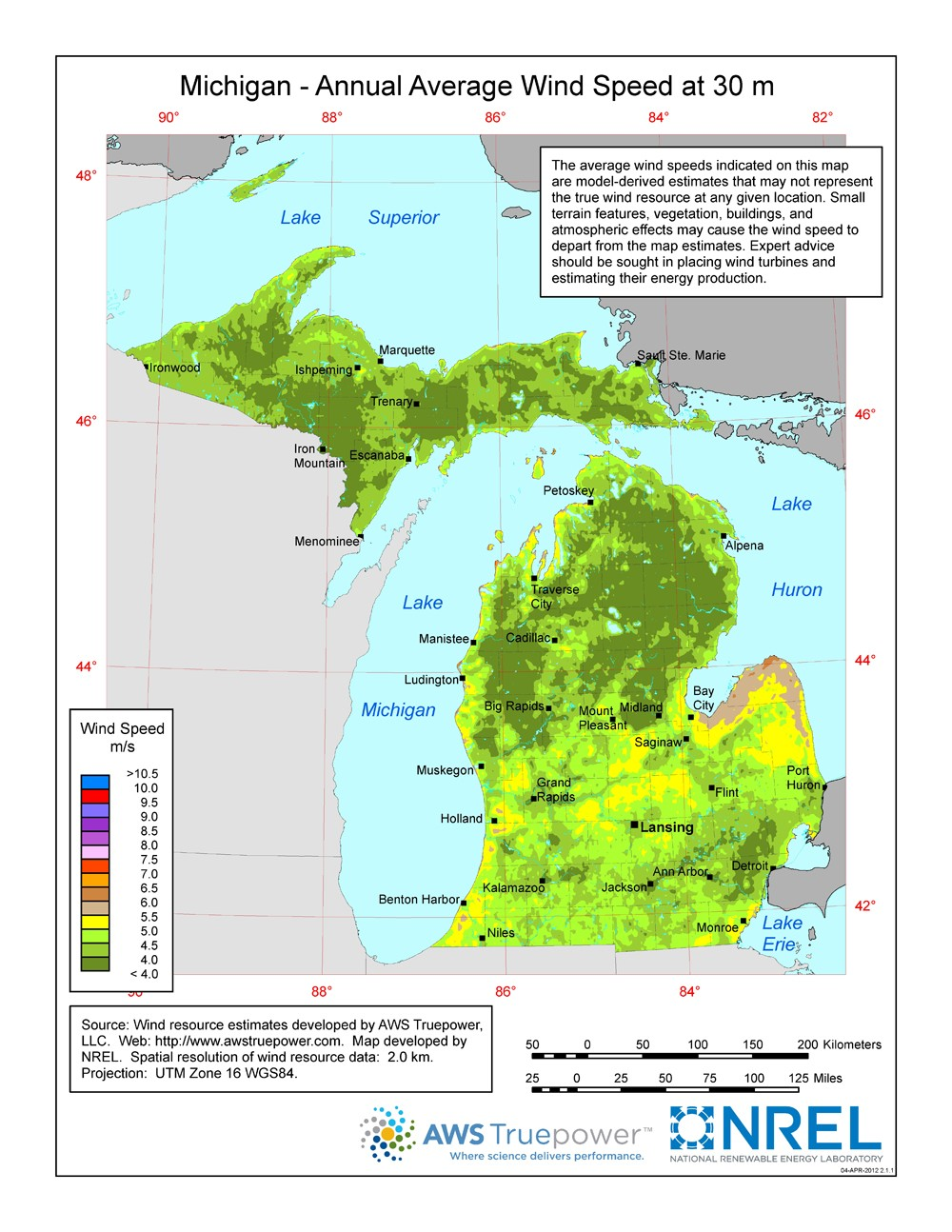 A map of Michigan showing wind speeds at a 30-m height.