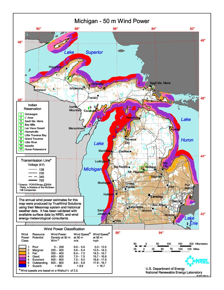 Michigan wind resource map.