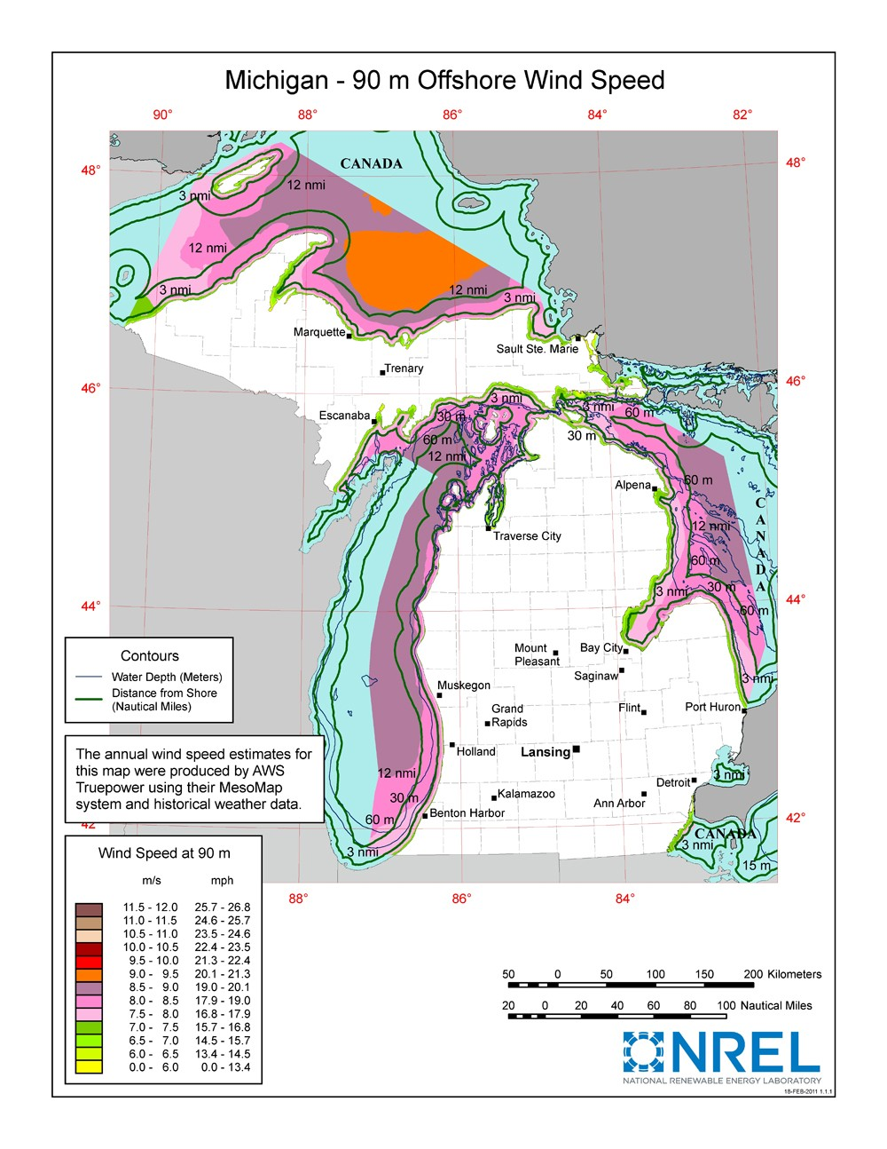 A map of Michigan showing offshore wind speeds.