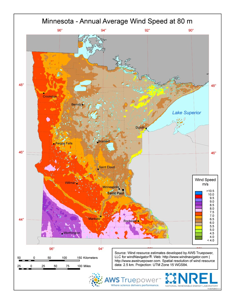 Minnesota wind resource map.