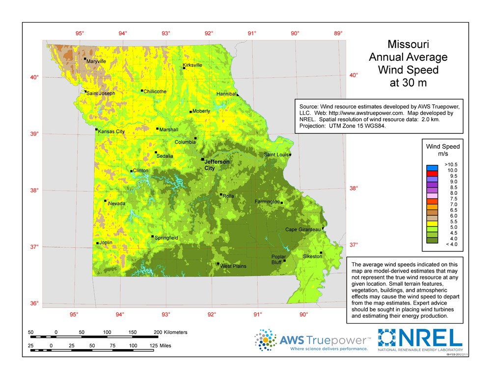 WINDExchange Missouri Meter ResidentialScale Wind Resource Map - Map of missiouri