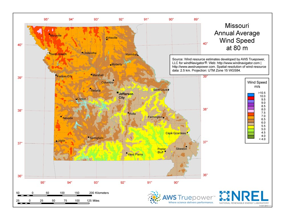 WINDExchange Missouri Meter Wind Resource Map - Missourimap
