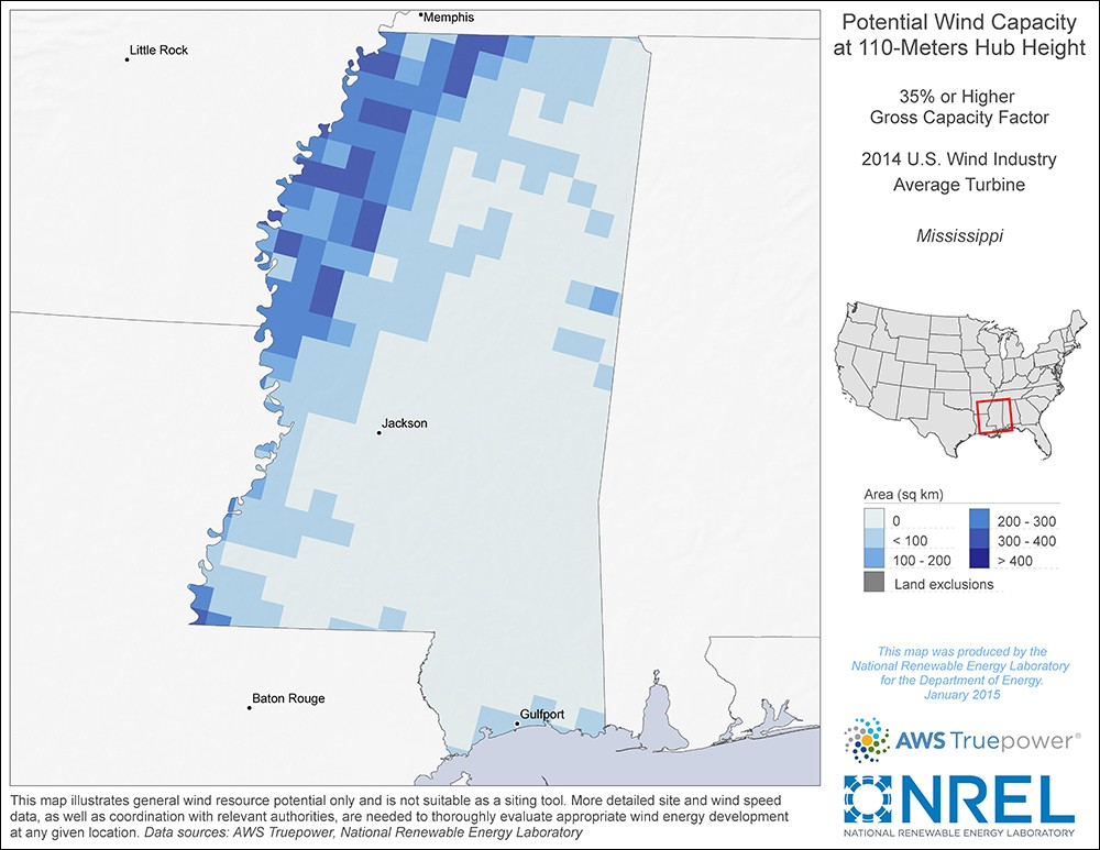 Mississippi 110-Meter Potential Wind Capacity Map