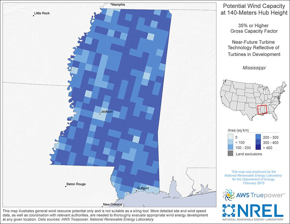 Mississippi 140-Meter Potential Wind Capacity Map