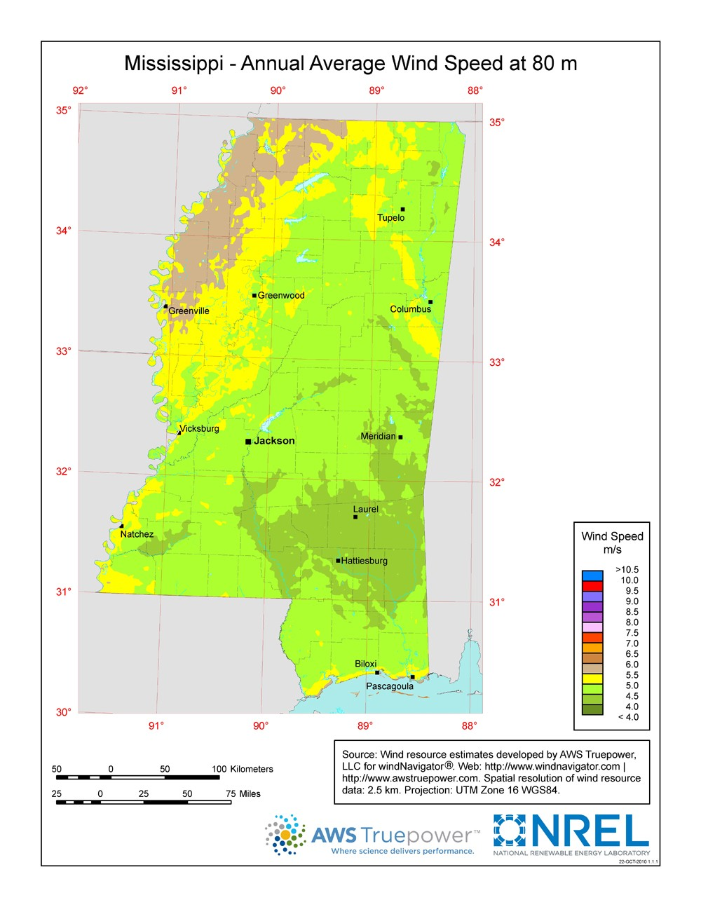 Mississippi wind resource map.