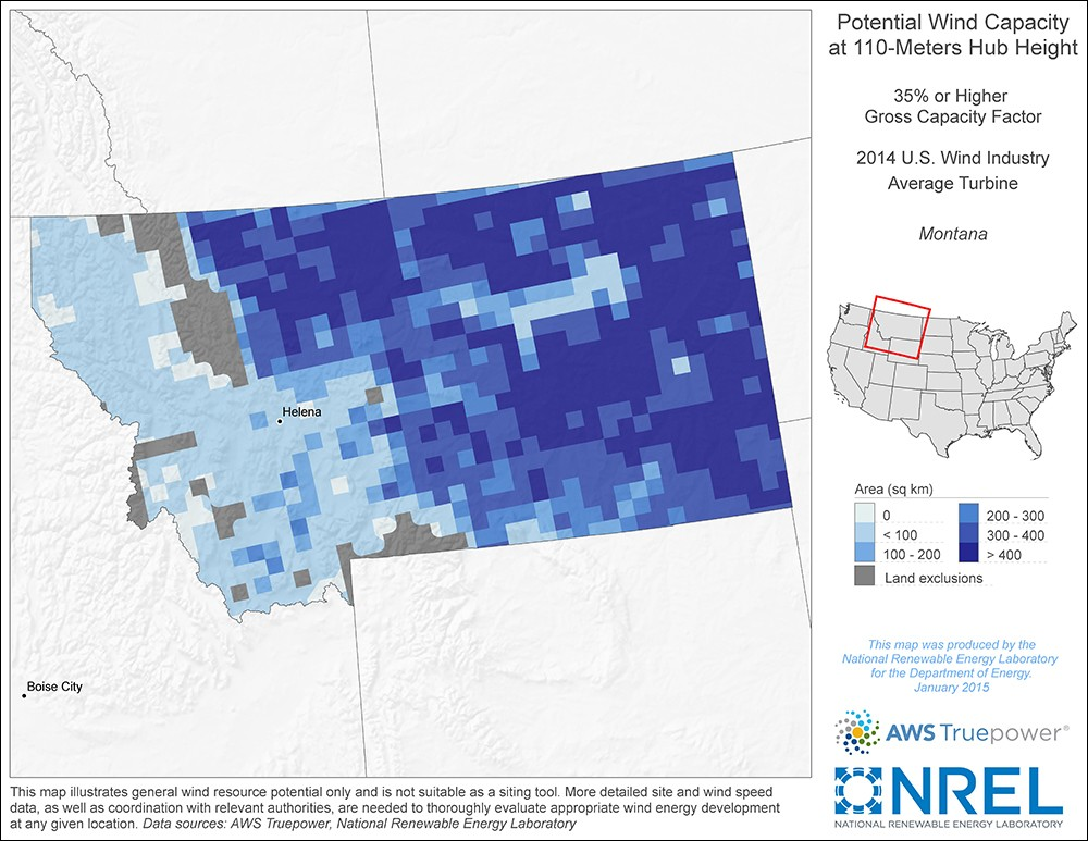 Montana 110-Meter Potential Wind Capacity Map