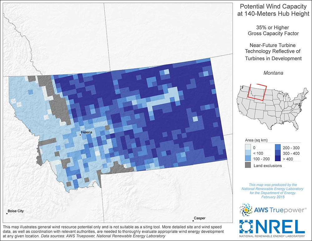 Montana 140-Meter Potential Wind Capacity Map