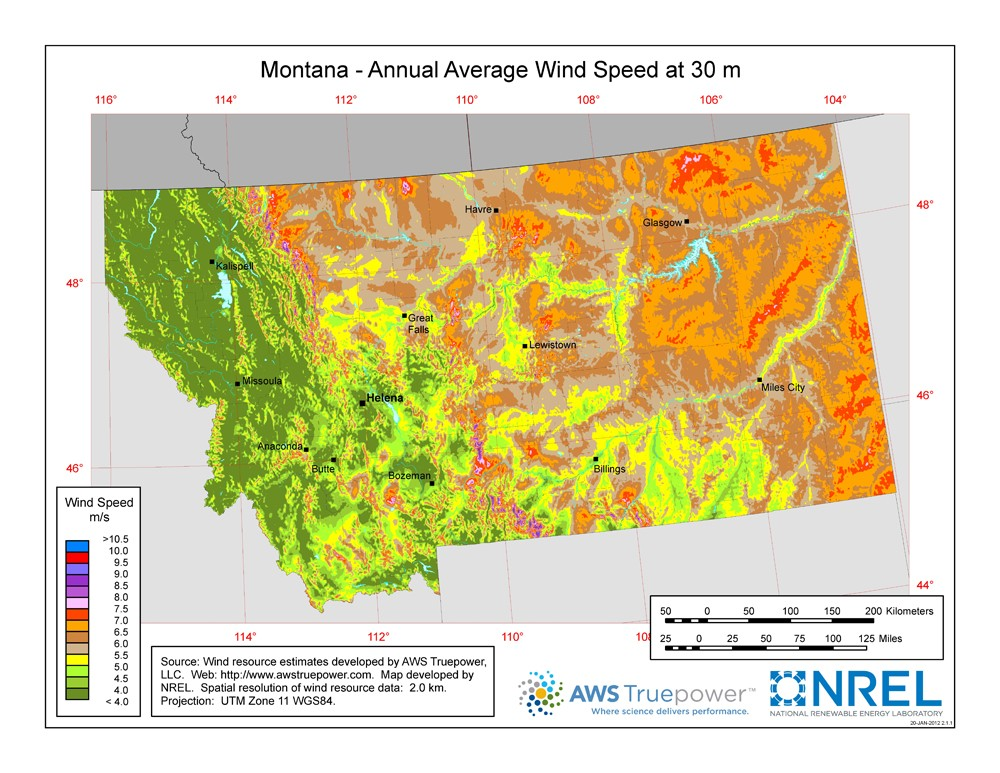 A map of Montana showing wind speeds at a 30-m height.