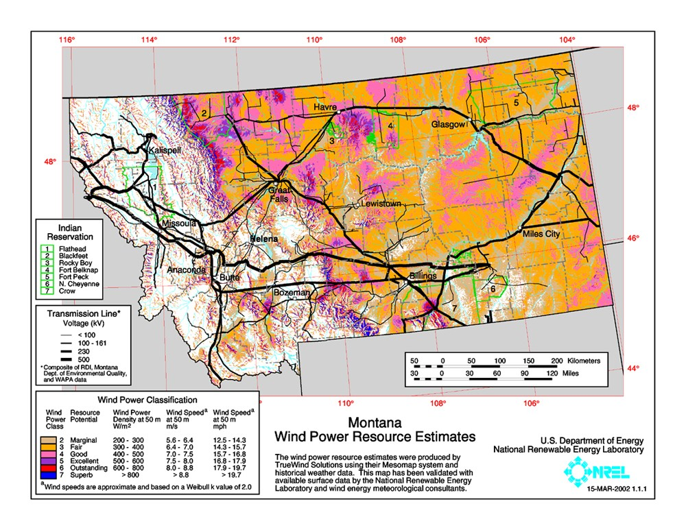 WINDExchange Montana Meter CommunityScale Wind Resource Map - Mt map