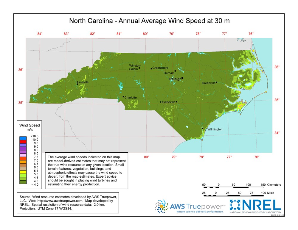 A map of North Carolina showing wind speeds at a 30-m height.