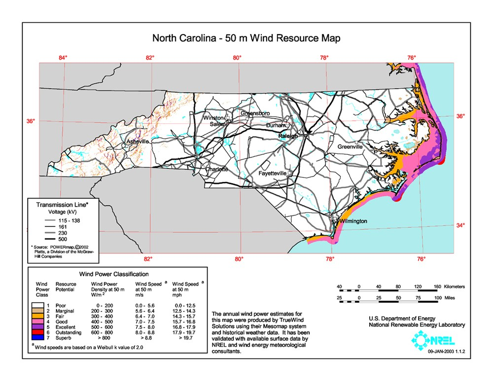 North Carolina wind resource map.
