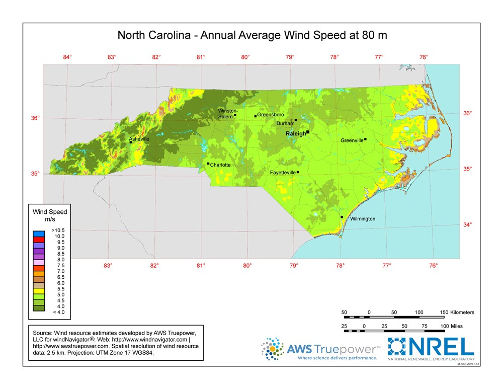 WINDExchange North Carolina Meter Wind Resource Map - A map of north carolina