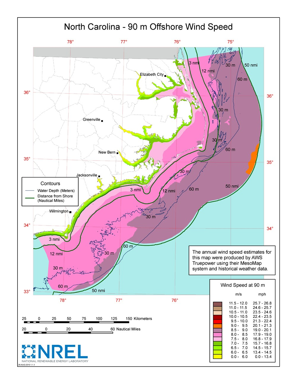 WINDExchange North Carolina Offshore Meter Wind Map And Wind - Us wind speed map