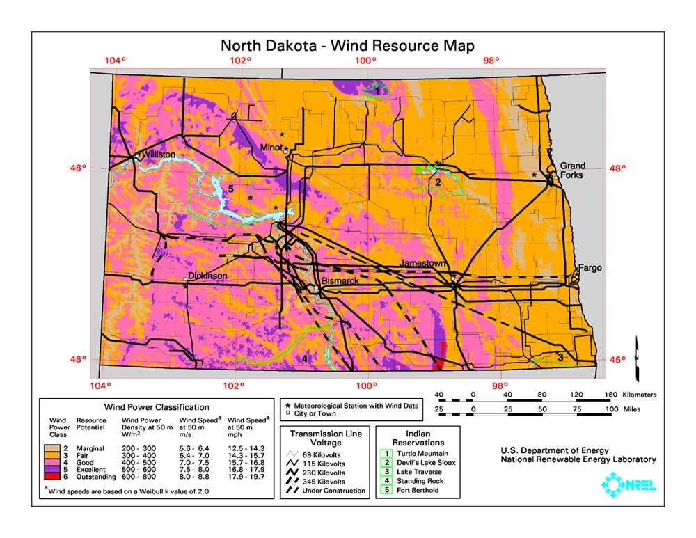 WINDExchange: North Dakota 50-Meter Community-Scale Wind Resource Map