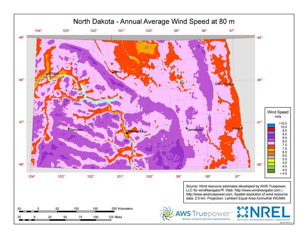 WINDExchange: North Dakota 80-Meter Wind Resource Map