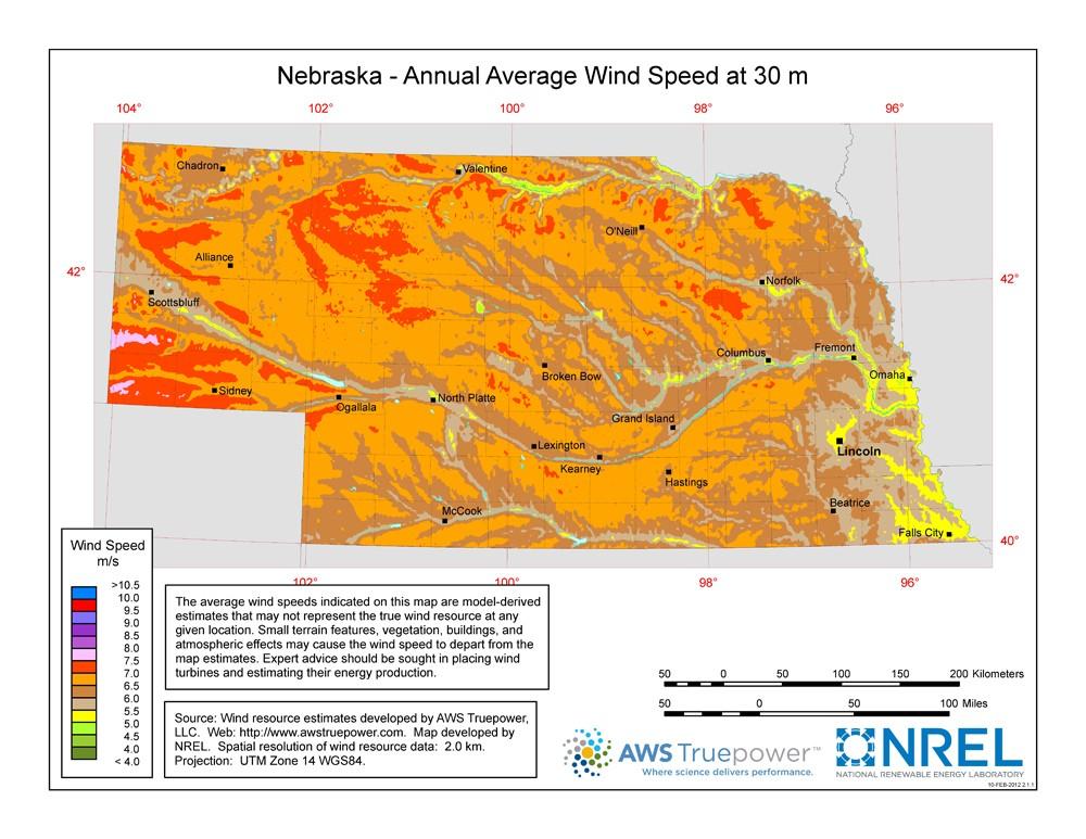 WINDExchange: Nebraska 30-Meter Residential-Scale Wind Resource Map