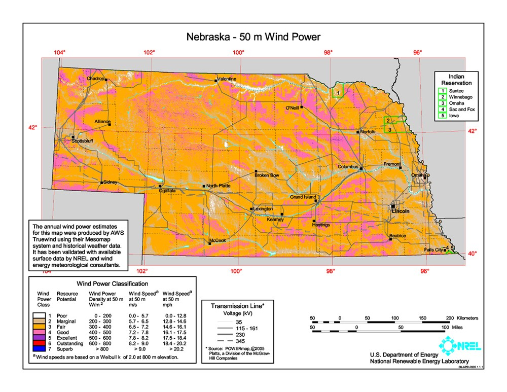 WINDExchange Wind Energy In Nebraska - Ne map