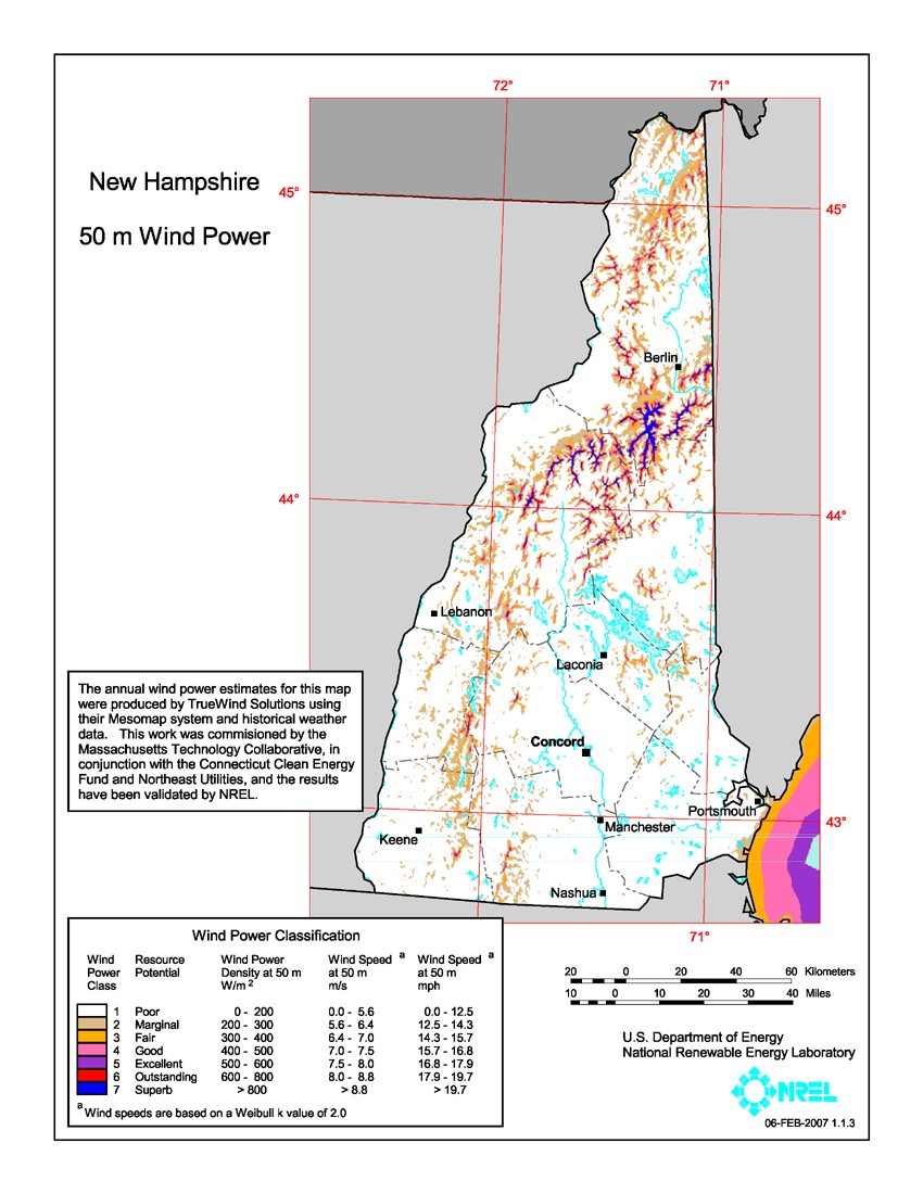 New Hampshire wind resource map.