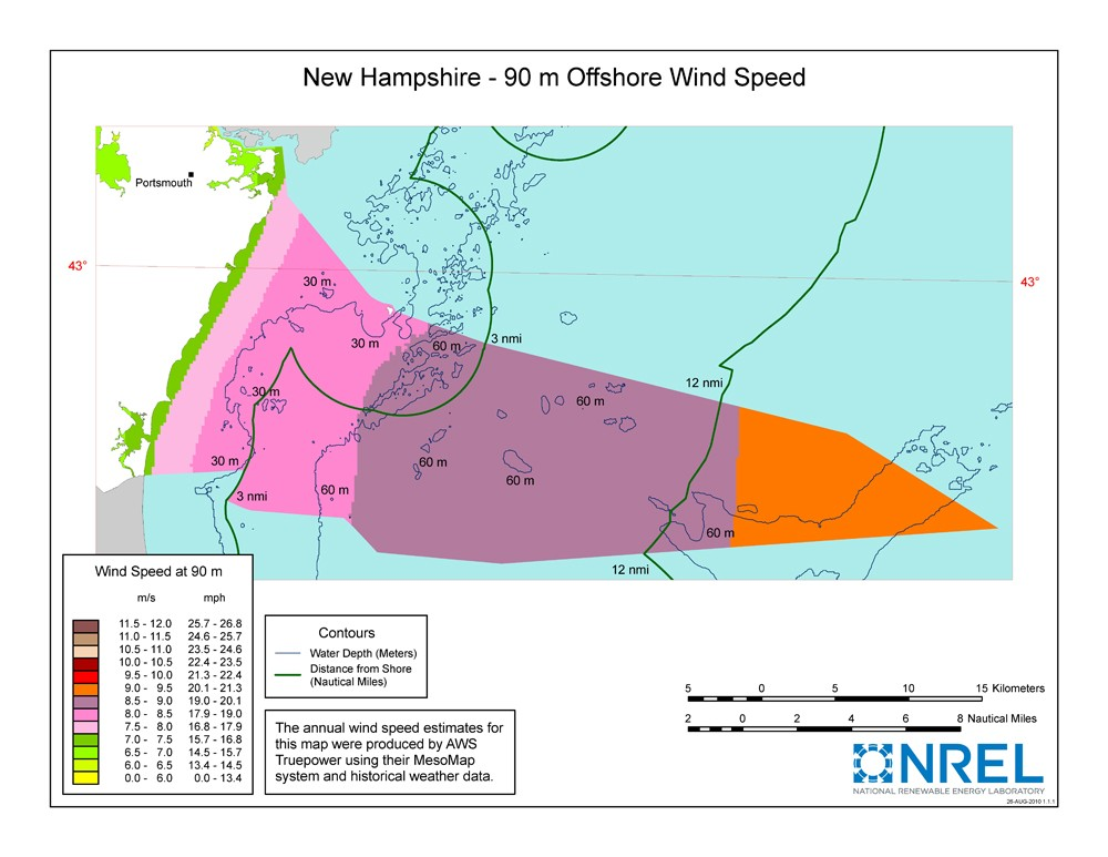A map of New Hampshire showing offshore wind speeds.