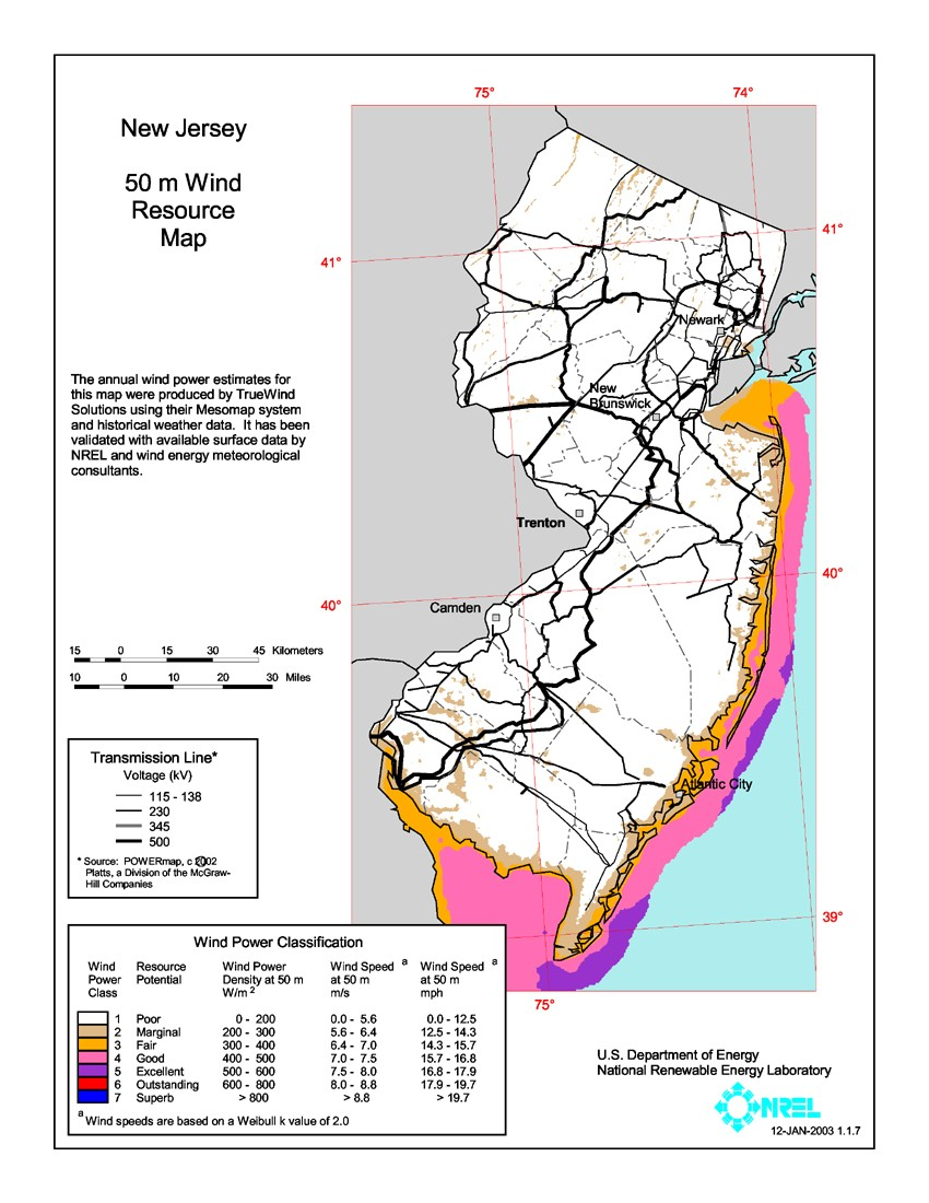 WINDExchange: New Jersey 50-Meter Community-Scale Wind Resource Map