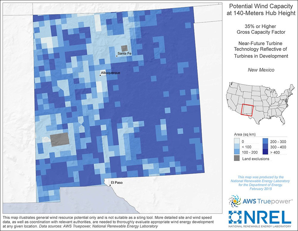 New Mexico 140-Meter Potential Wind Capacity Map