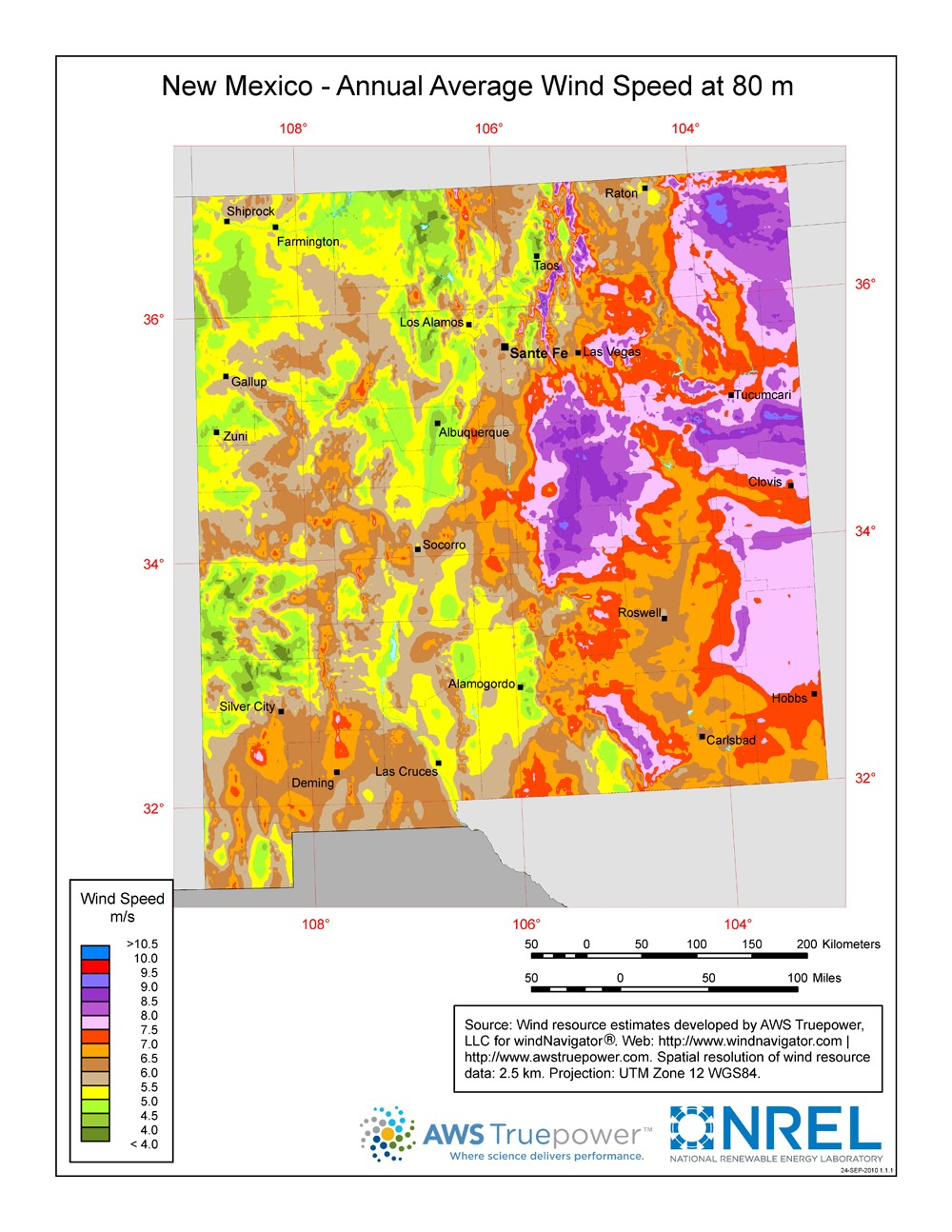 Windexchange New Mexico 80 Meter Wind Resource Map