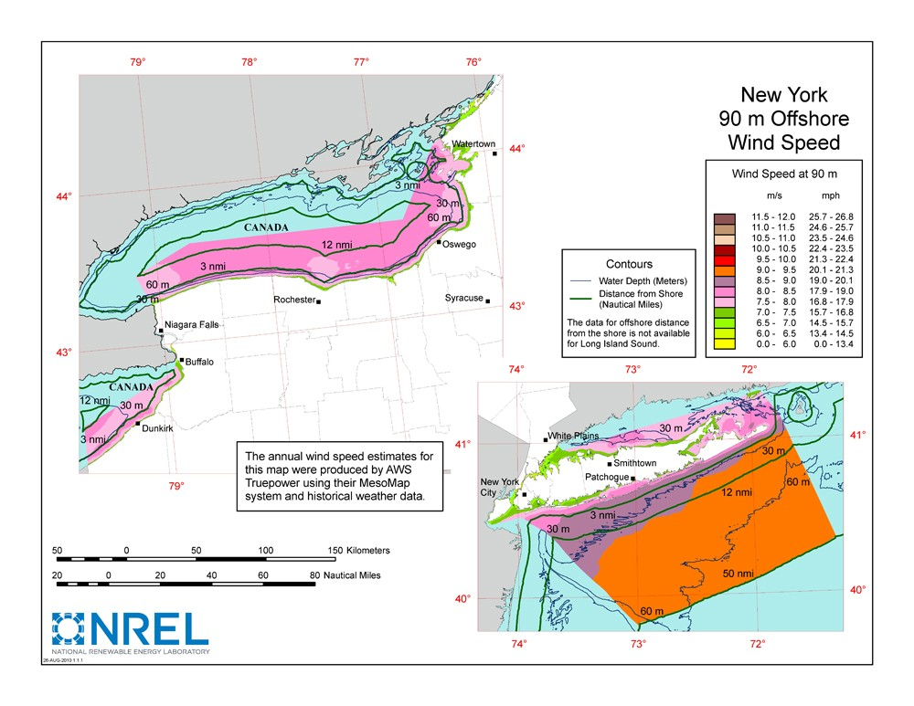 A map of New York showing offshore wind speeds.