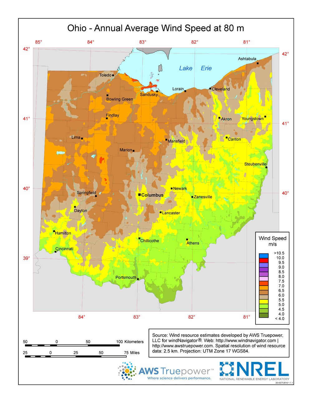 WINDExchange Ohio Meter Wind Resource Map - Map ohio