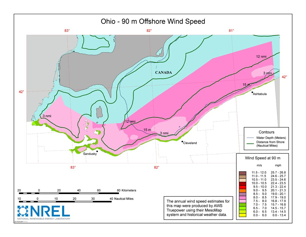 A map of Ohio showing offshore wind speeds.