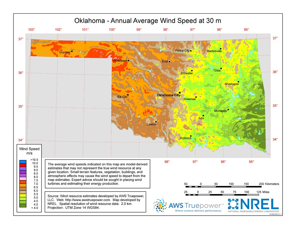 A map of Oklahoma showing wind speeds at a 30-m height.