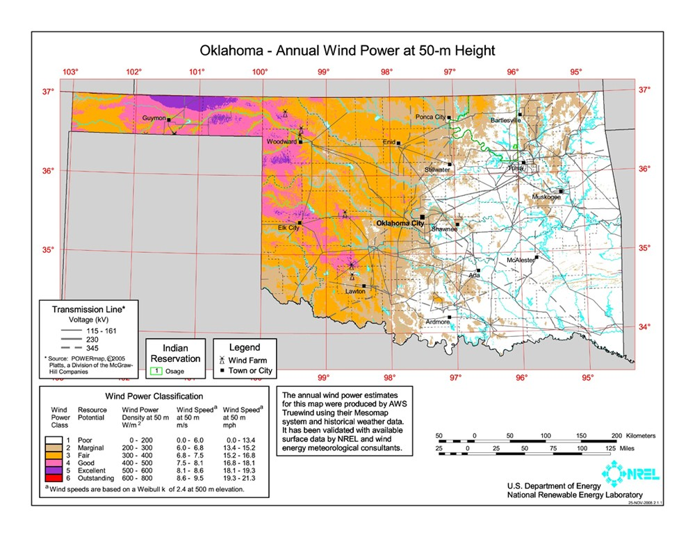 WINDExchange Oklahoma Meter CommunityScale Wind Resource Map - Map oklahoma
