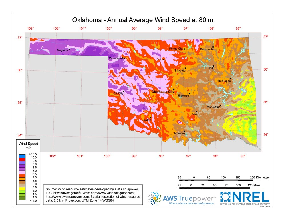 Oklahoma wind resource map.