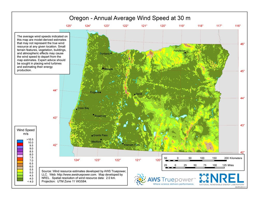A map of Oregon showing wind speeds at a 30-m height.